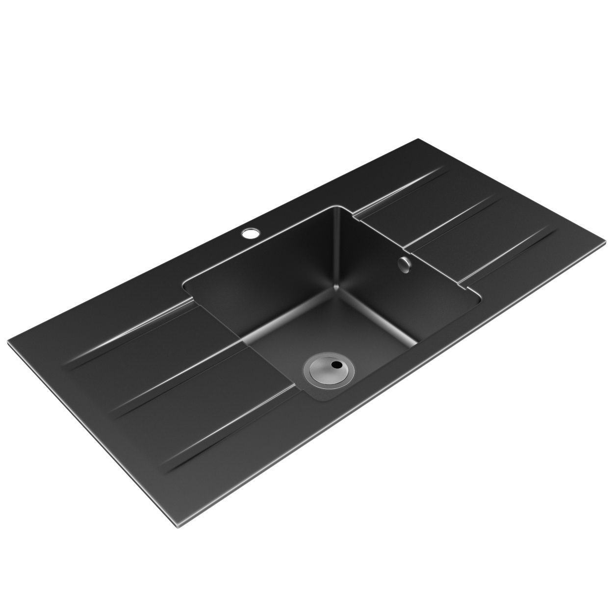 Ceramic Kitchen Sink With Drainer : Abode Zero 1.0 Bowl Ceramic Kitchen Sink With Double Drainer