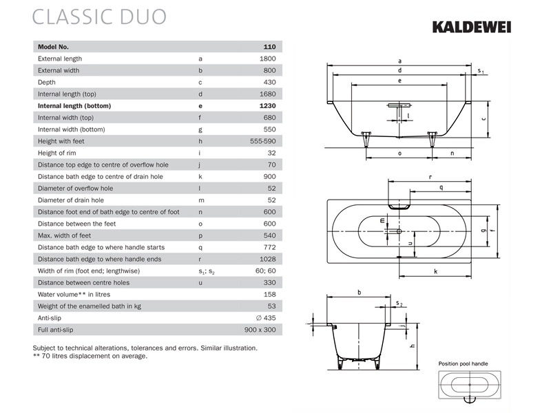 kaldewei classic duo 110 double ended steel bath 1800 x 800mm. Black Bedroom Furniture Sets. Home Design Ideas