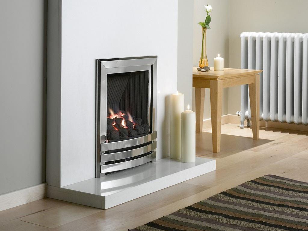 Flavel Linear Power Flue Gas Fire No Chimney Silver Coal