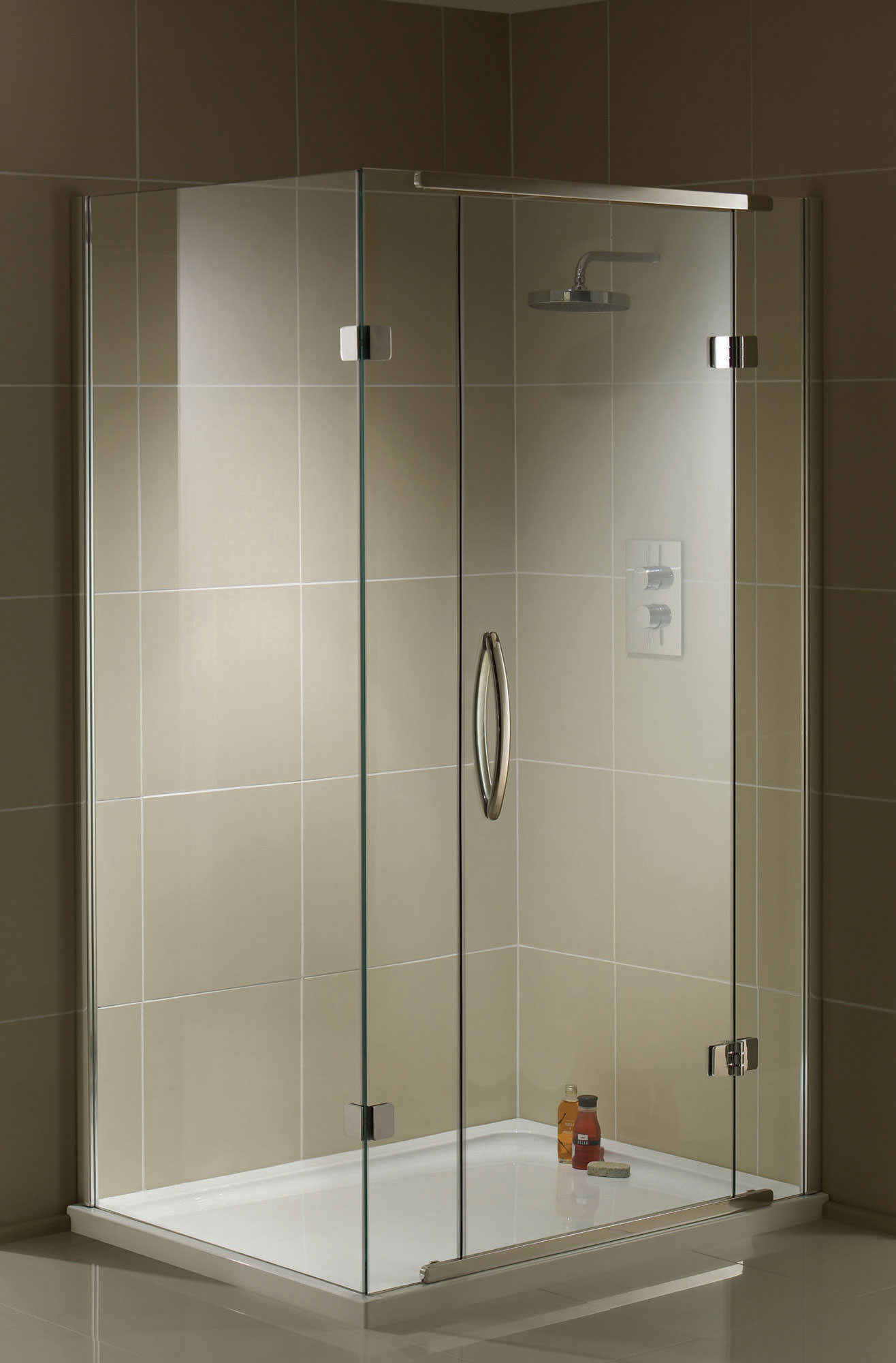 aquadart inline 2 sided hinged door shower enclosure 1200