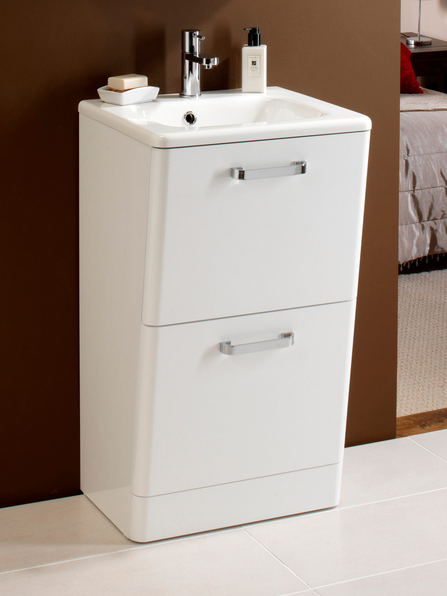 Hib palamas floor standing vanity unit and basin 500mm white for Floor standing bathroom furniture