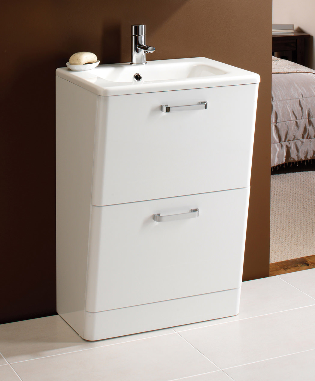 Hib palamas 600mm floor standing vanity unit with basin white for Floor standing bathroom furniture