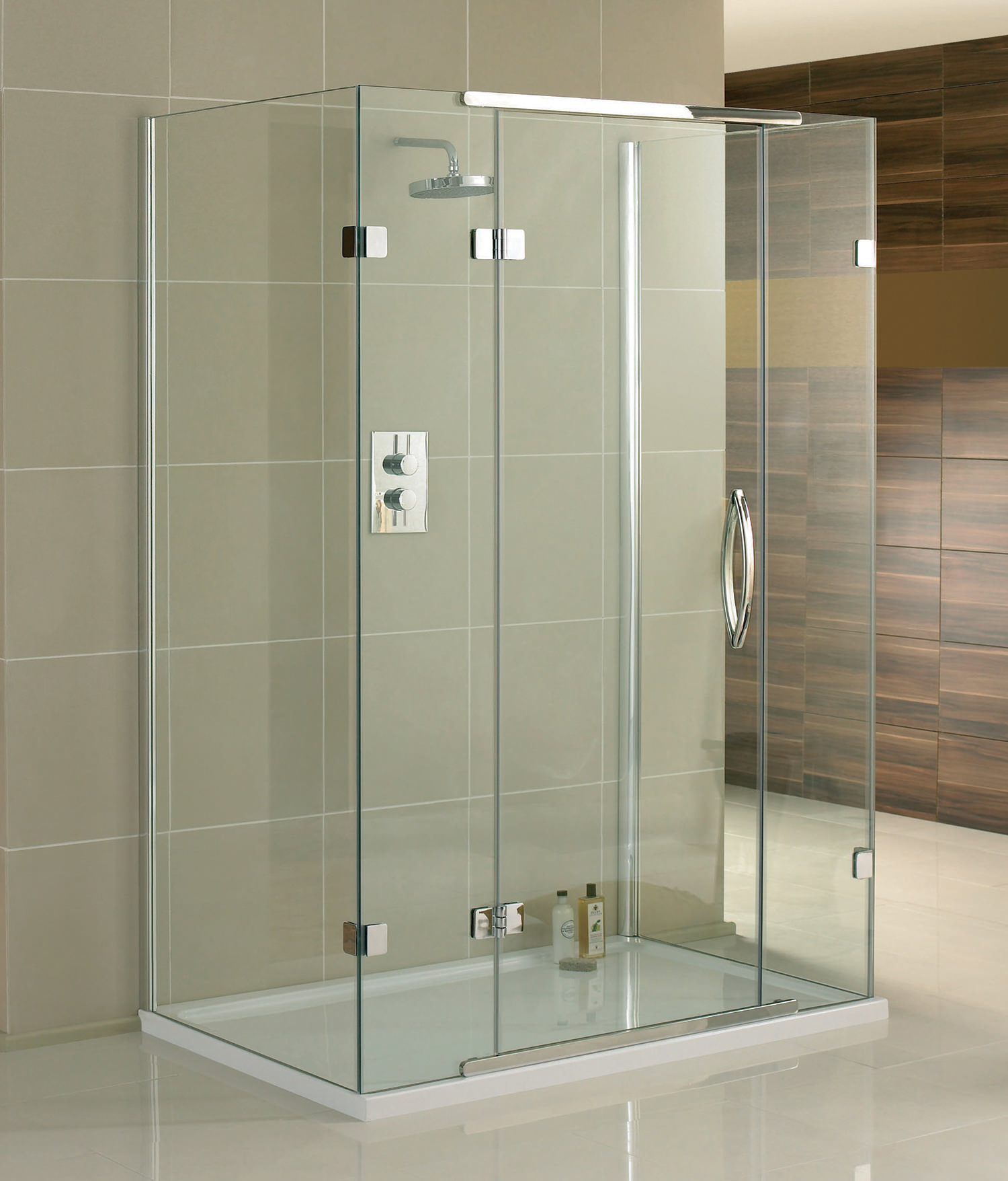 aquadart inline 3 sided hinged door shower enclosure 1200