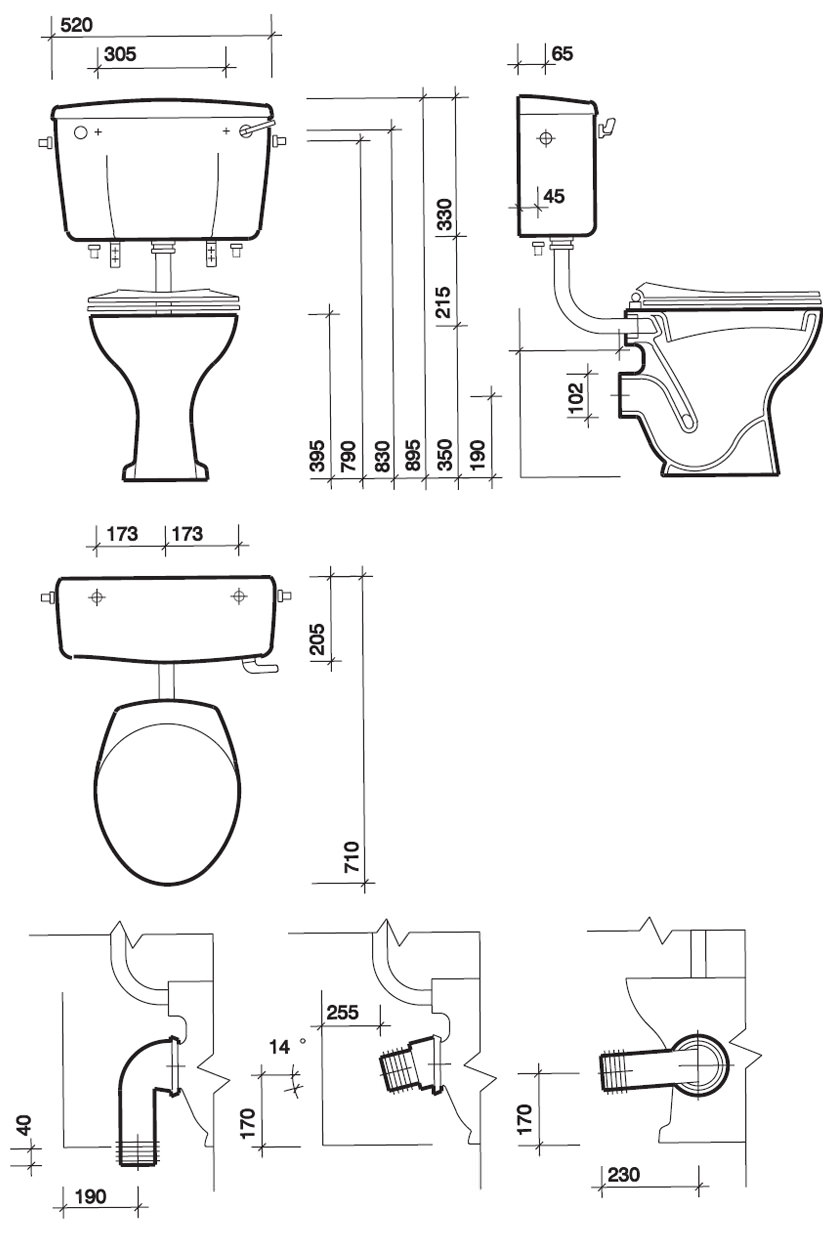 Twyford Classic Low Level Wc Pan With Horizontal Outlet 710mm