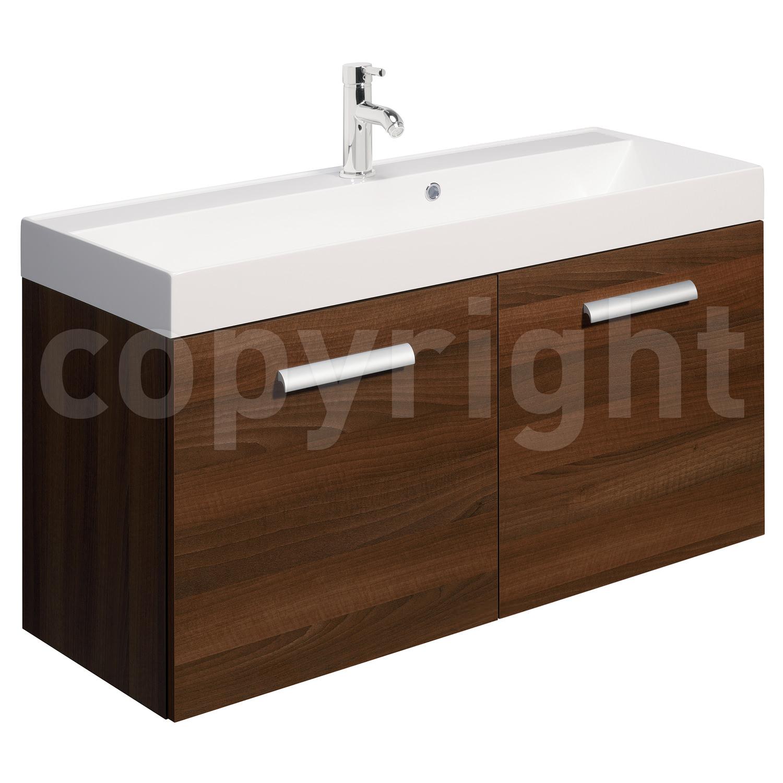 Bauhaus design 1000mm two door wall hung basin unit walnut for 1000mm door