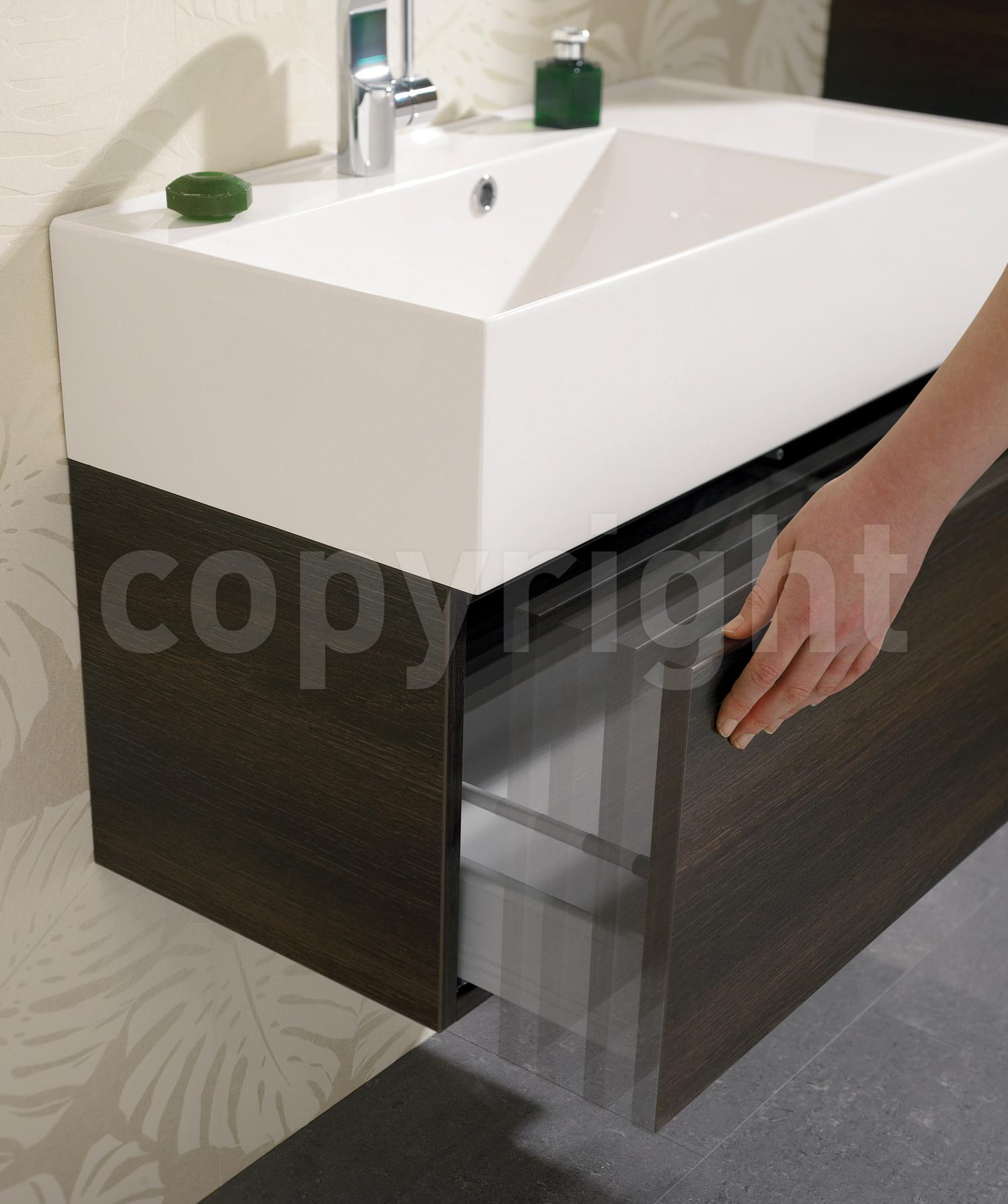 Slim Wall Hung Basin : ... Bauhaus Elite Panga Slim Line Single Drawer Vanity Basin Unit 1000mm