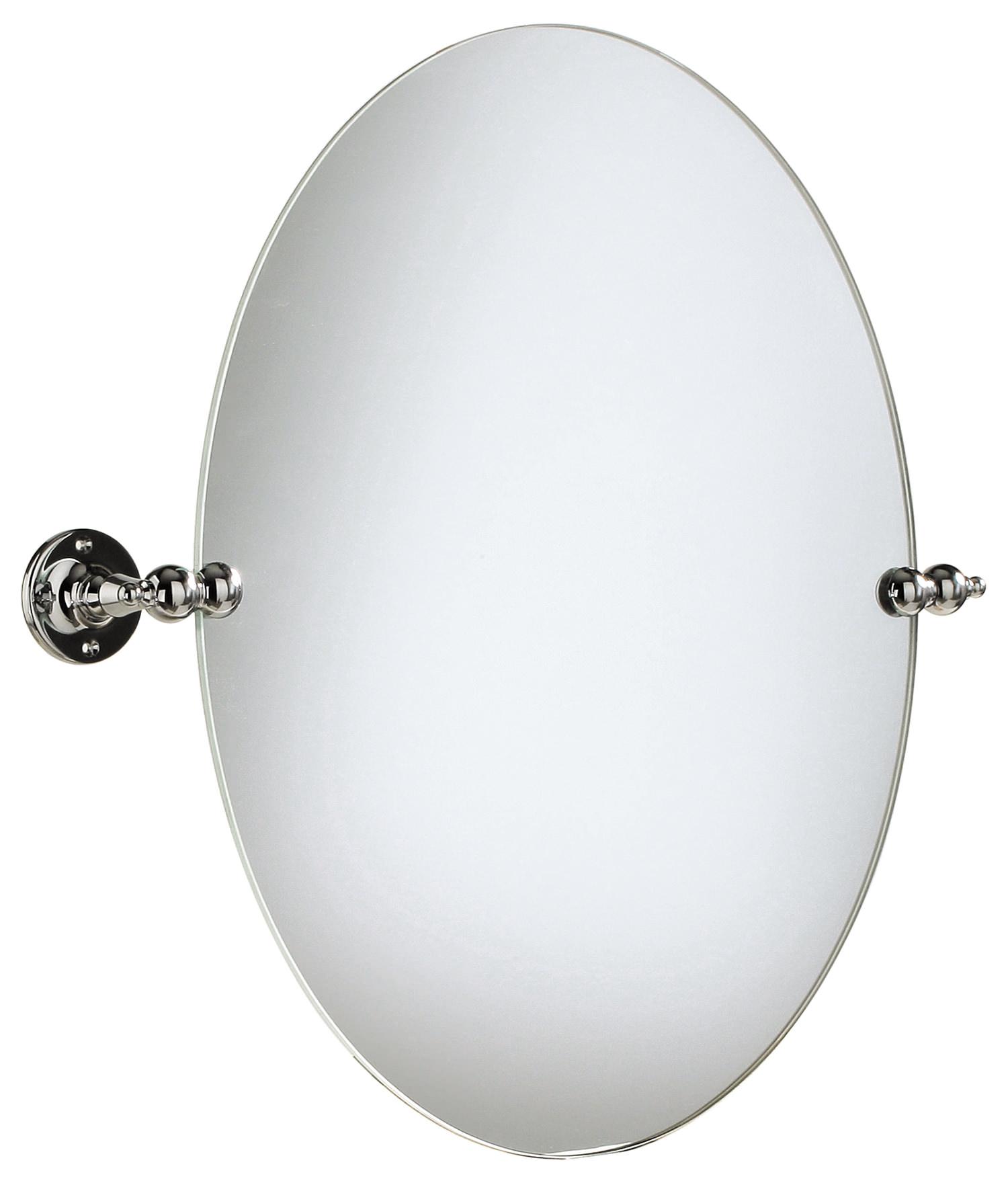 Heritage oval swivel mirror chrome ahc17 for Oval swivel bathroom mirror