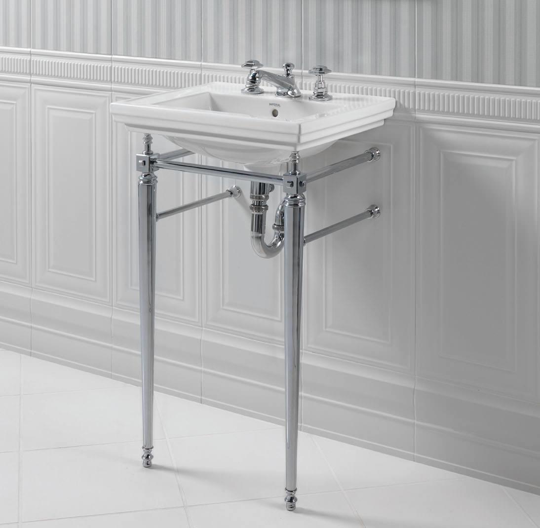 Imperial astoria deco chrome cloak basin stand with towel rail